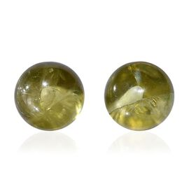 Hebei Peridot Ball Stud Earrings (with Push Back) in 14K Gold Overlay Sterling Silver 2.750 Ct.