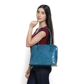 Genuine Vegan Leather Blue Colour Handpainted Leaves Pattern Shoulder Bag (Size 38x30x13 Cm)