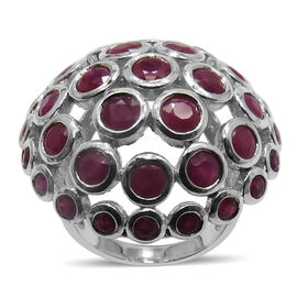 Burmese Ruby (Rnd) Ring in Rhodium Plated Sterling Silver 7.010 Ct.