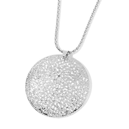 Lattice Circle Pendant with Chain (Size 28) and Hook Earrings in Silver Tone