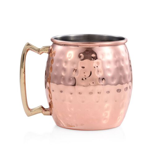 Barrel Shape Hammered Moscow Mule Mug in Rose Plated Stainless Steel (Size 10x7 Cm)