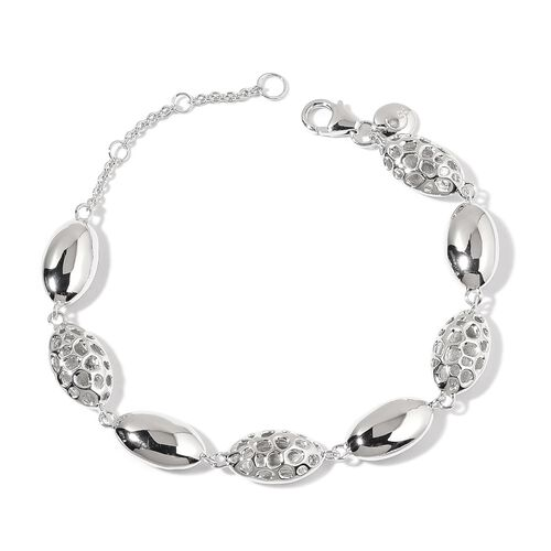 RACHEL GALLEY Rhodium Plated Sterling Silver Pebble Lattice Bracelet (Size 8), Silver wt 10.61 Gms.