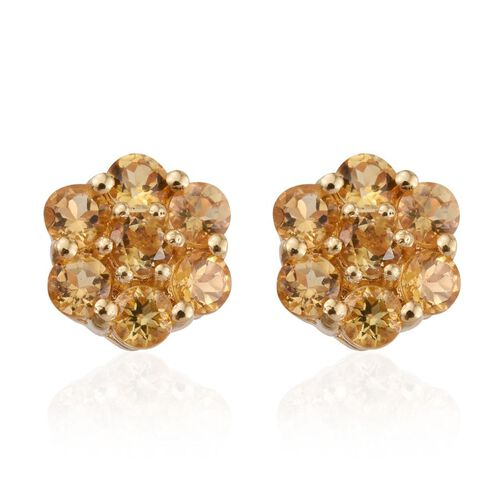 Citrine (Rnd) Floral Stud Earrings (with Push Back) in 14K Gold Overlay Sterling Silver 1.250 Ct.