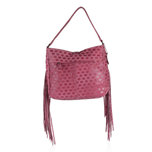 Designer Inspired- 100% Genuine Leather RFID Blocker Polka Dot Pattern Fuchsia Colour Handbag with Fringes and External Zipper Pocket (Size 33X29X10 Cm)