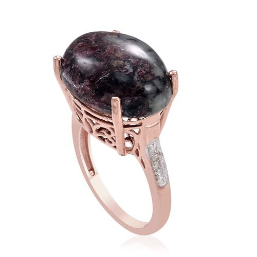 Natural Russian Eudialyte (Ovl 11.00 Ct), Diamond Ring in Rose Gold Overlay Sterling Silver 11.050 Ct.