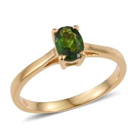 Russian Diopside (Ovl) Solitaire Ring in 14K Gold Overlay Sterling Silver 0.900 Ct.
