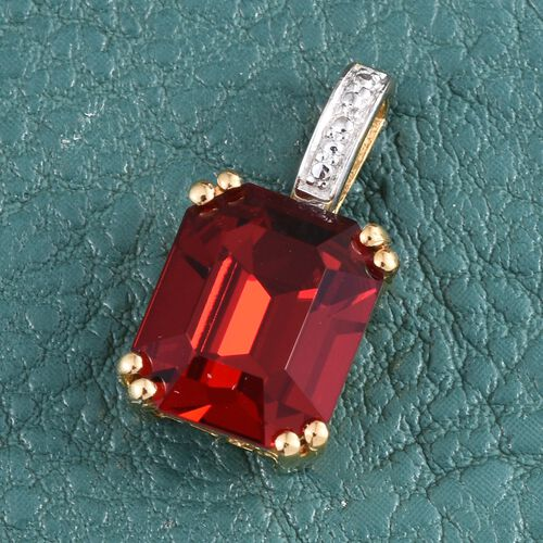 J Francis Crystal from Swarovski - Light Siam Crystal (Oct) Solitaire Pendant in 14K Gold Overlay Sterling Silver