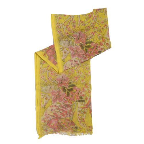 60% Merino Wool and 40% Modal Yellow and Multi Colour Floral Printed Scarf (Size 180x70 Cm)