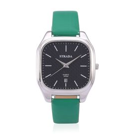 STRADA Japanese Movement Black Dial Water Resistant Watch in Silver Tone with Stainless Steel Back and Green Strap