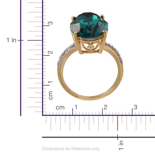 Crystal from Swarovski - Emerald Colour Crystal (Ovl) Ring in 14K Gold Overlay Sterling Silver