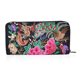 Shanghai Collection - Classic Black Peacock and Floral  Embroidered Long Size Wallet (Size 19x10x2 Cm)