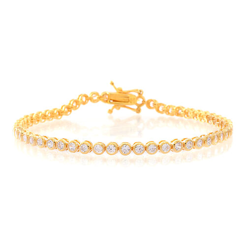 ELANZA AAA Diamond Cut Simulated White Diamond (Rnd) Tennis Bracelet (Size 8) in 14K Gold Overlay Sterling Silver