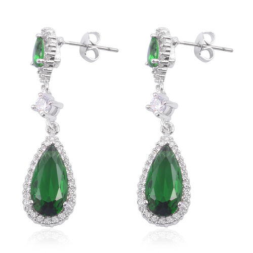 Close Out Deal AAA Simulated Emerald (Pear), Simulated Diamond Earrings (with Push Back) in Silver Bond