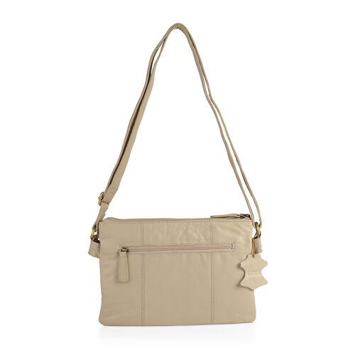 Limited Collection Genuine Leather RFID Blocker Beige Colour Bird Handbag with External Zipper Pocket and Adjustable Shoulder Strap (Size 29X20X4 Cm)
