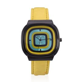 STRADA Japenese Movement Blue, Black and Yellow Dial Water Resistant Watch in Black Tone with Stainless Steel Back and Yellow Strap