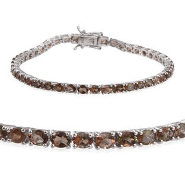 Jenipapo Andalusite (Ovl) Tennis Bracelet (Size 7.5) in Platinum Overlay Sterling Silver 7.500 Ct.