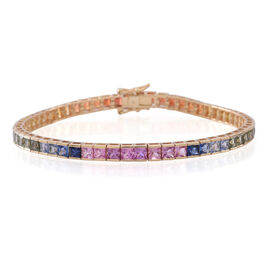 9K Yellow Gold Multi Sapphire (Sqr) Princess Bracelet (Size 7.5) 11.500 Ct.
