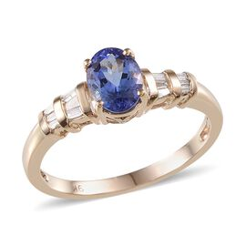 9K Y Gold Tanzanite (Ovl 1.30 Ct), Diamond Ring 1.500 Ct.