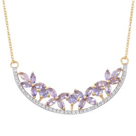 Designer Inspired-Tanzanite (Rnd), White Zircon Floral Necklace (Size 18) in Yellow Gold Overlay Sterling Silver 4.250 Ct.