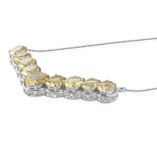 Natural Green Gold Quartz (Ovl) Necklace (Size 18) in Platinum Overlay Sterling Silver 20.750 Ct.