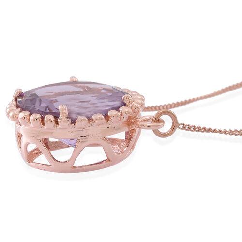 Rose De France Amethyst (Rnd) Necklace (Size 18) in 14K Rose Gold Overlay Sterling Silver 8.250 Ct.