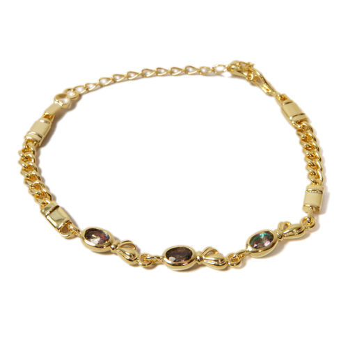 Close Out Deal Mystic Topaz (Ovl) Bracelet (Size 7.5) in Gold Tone