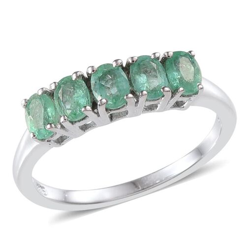 Boyaca Colombian Emerald (Ovl) 5 Stone Ring in Platinum Overlay Sterling Silver 1.000 Ct.