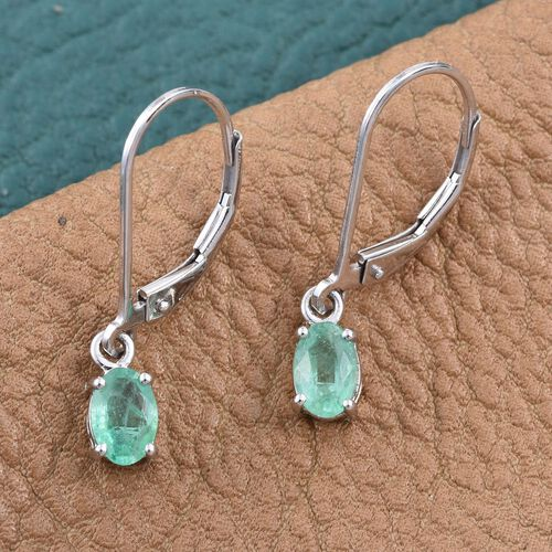 14K W Gold Boyaca Colombian Emerald (Ovl) Lever Back Earrings 0.900 Ct.