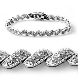 Diamond (Rnd) Bracelet in Platinum Overlay Sterling Silver (Size 7.5) 1.101 Ct.