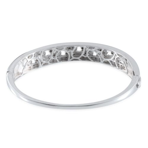 Diamond (Rnd) Filigree Bangle (Size 7.5) in Platinum Overlay Sterling Silver 0.550 Ct.