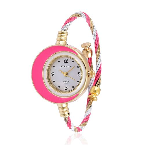 STRADA Japanese Movement White Dial Water Resistant Pink Colour Bangle Watch in Gold Tone with Stainless Steel Back