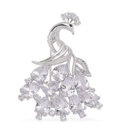AAA Simulated White Diamond and Black Austrain Crystal Peacock Brooch in Silver Tone