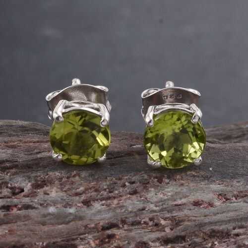 Hebei Peridot (Rnd) Stud Earrings (with Push Back) in Platinum Overlay Sterling Silver 1.750 Ct.