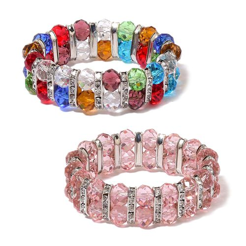 Set of 2 - Simulated Pink and Multi Colour Diamond and White Austrian Crystal Stretchable Bracelet (Size 7.5) in Silver Tone