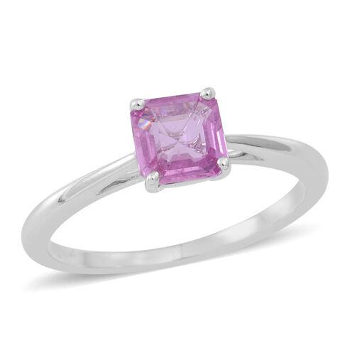 ILIANA 18K W Gold Pink Sapphire (Asscher Cut) Solitaire Ring 1.000 Ct.