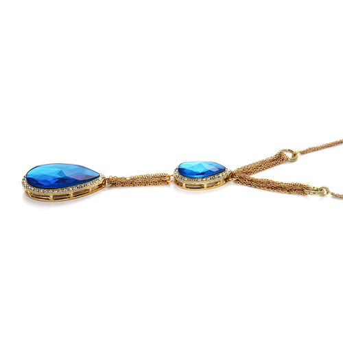 Blue Glass, White Austrian Crystal Necklace (Size 20) in Gold Tone