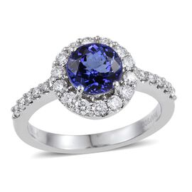 RHAPSODY 950 Platinum 2.50 Carat AAAA Tanzanite Round, Diamond Ring VS E-F.
