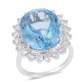 RHAPSODY 950 Platinum AAAA Santa Teresa Aquamarine (Ovl 15.25 Ct), Diamond (VS/E-F) Ring 17.250 Ct.