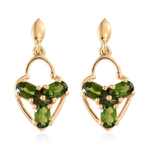 Russian Diopside (Ovl) Earrings (with Push Back) in 14K Gold Overlay Sterling Silver 1.545 Ct.