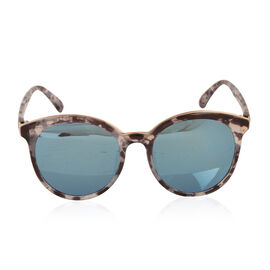 Round Frame - Black Marbling with Mirrored Lens Sunglasses