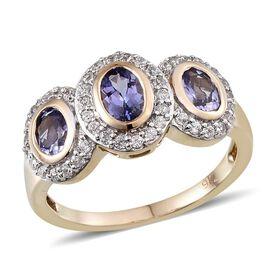 9K Y Gold AA Tanzanite (Ovl 1.20 Ct), Natural Cambodian Zircon Ring 1.750 Ct.