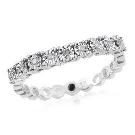 GP Diamond Dream (Rnd), Kanchanaburi Blue Sapphire Ring in Platinum Overlay Sterling Silver