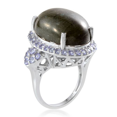 Labradorite (Ovl 21.00 Ct), Tanzanite Ring in Platinum Overlay Sterling Silver 22.850 Ct.