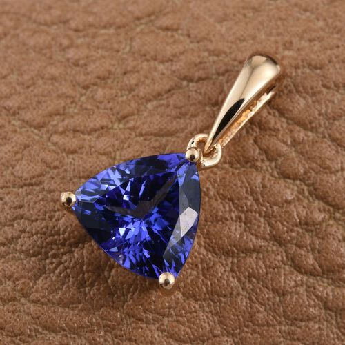 ILIANA 18K Yellow Gold 1.15 Carat AAA Tanzanite Trillion Solitaire Pendant.