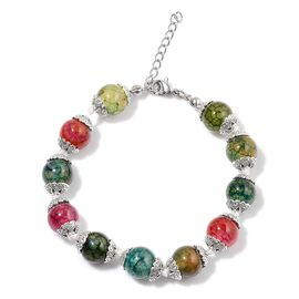 Multi Agate Enhanced Bracelet (Size 7.5 with 1 inch Extender) in Silver Tone 25.000 Ct.