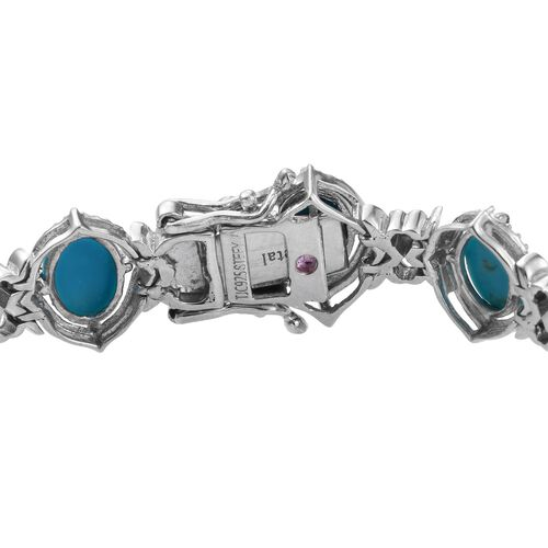 Stefy Sonoran Turquoise (Ovl), Pink Sapphire Bracelet (Size 7.75) in Platinum Overlay Sterling Silver 15.020 Ct.