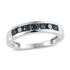 Blue Diamond (Rnd) 7 Stone Band Ring in Platinum Overlay Sterling Silver 0.500 Ct.