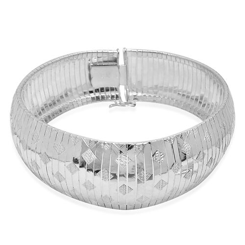 Close Out Deal Rhodium Plated Sterling Silver Cubetto Engraved Bracelet (Size 7.5), Silver wt 28.06 Gms.