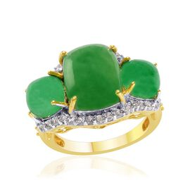 Green Jade (Cush 4.75 Ct), White Topaz and Hebei Peridot Ring in 14K Gold Overlay Sterling Silver 8.500 Ct.