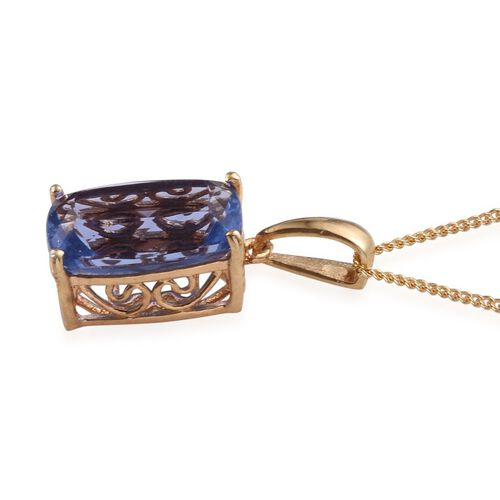 Colour Change Fluorite (Cush) Solitaire Pendant With Chain in 14K Gold Overlay Sterling Silver 7.500 Ct.
